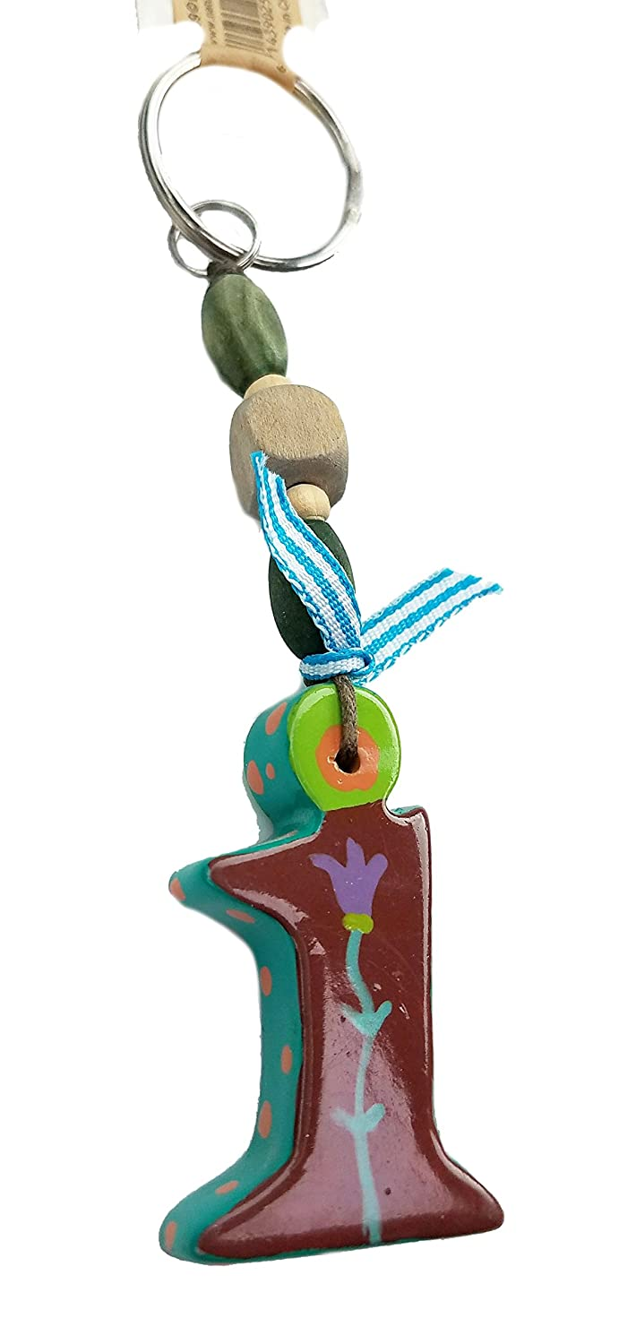 Natural Life Hand-painted Wooden Lowercase Initial Key Chain