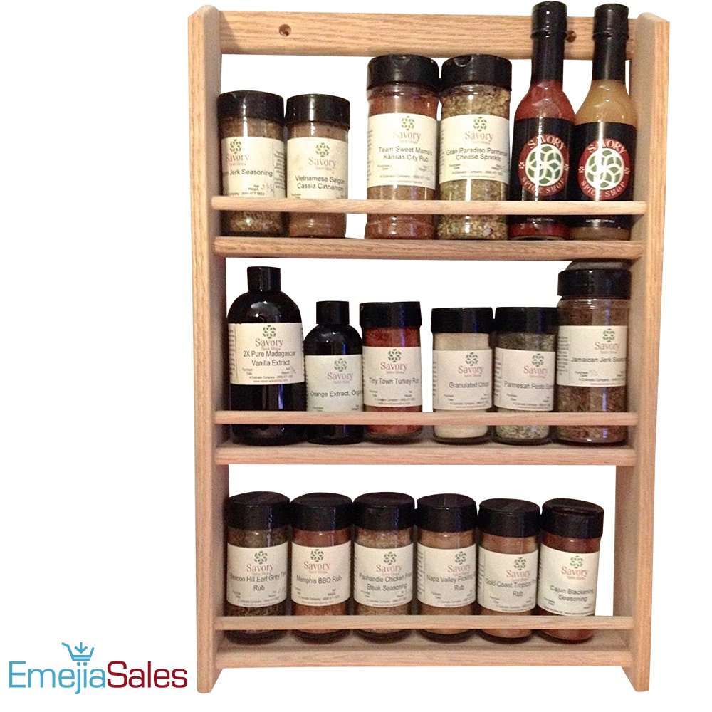 EmejiaSales Oak Spice Rack Wall Mount Organizer (3-Shelf Design), Hanging Natural Wood Country Rustic Style, Great Storage for Pantry and Kitchen - Holds 18 Herb Jars by EmejiaSales (Image #2)