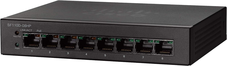 Cisco SF110D-08 Desktop Switch with 8 Ports 10/100 Desktop, Limited Lifetime Protection (SF110D-08-NA)