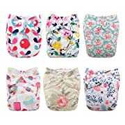 Babygoal Baby Cloth Diapers for Girls, Reusable Adjustable One Size Pocket Nappy, 6pcs Diapers+6pcs Microfiber Inserts+One Wet Bag 6FG03