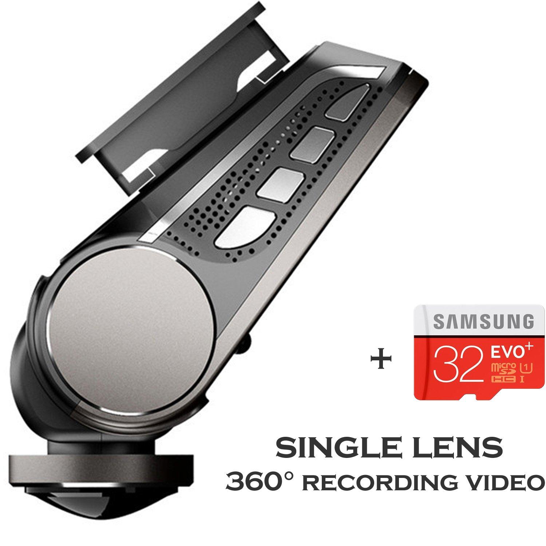 YQMAJIM P80 Mini Dash Cam,2.5''HD,Unique 360 Degrees Wide Angle Lens hidden Dual Facing Car Dash Camera Driving Recorder,Front and Rear,24 Hour Parking Monitor,Super Night Vision,G-Sensor,32G Card