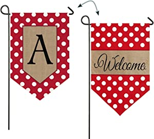 Evergreen Flag Polka Dot Welcome Monogram A Double Sided Burlap Garden Flag 12.5 x 18 Inches