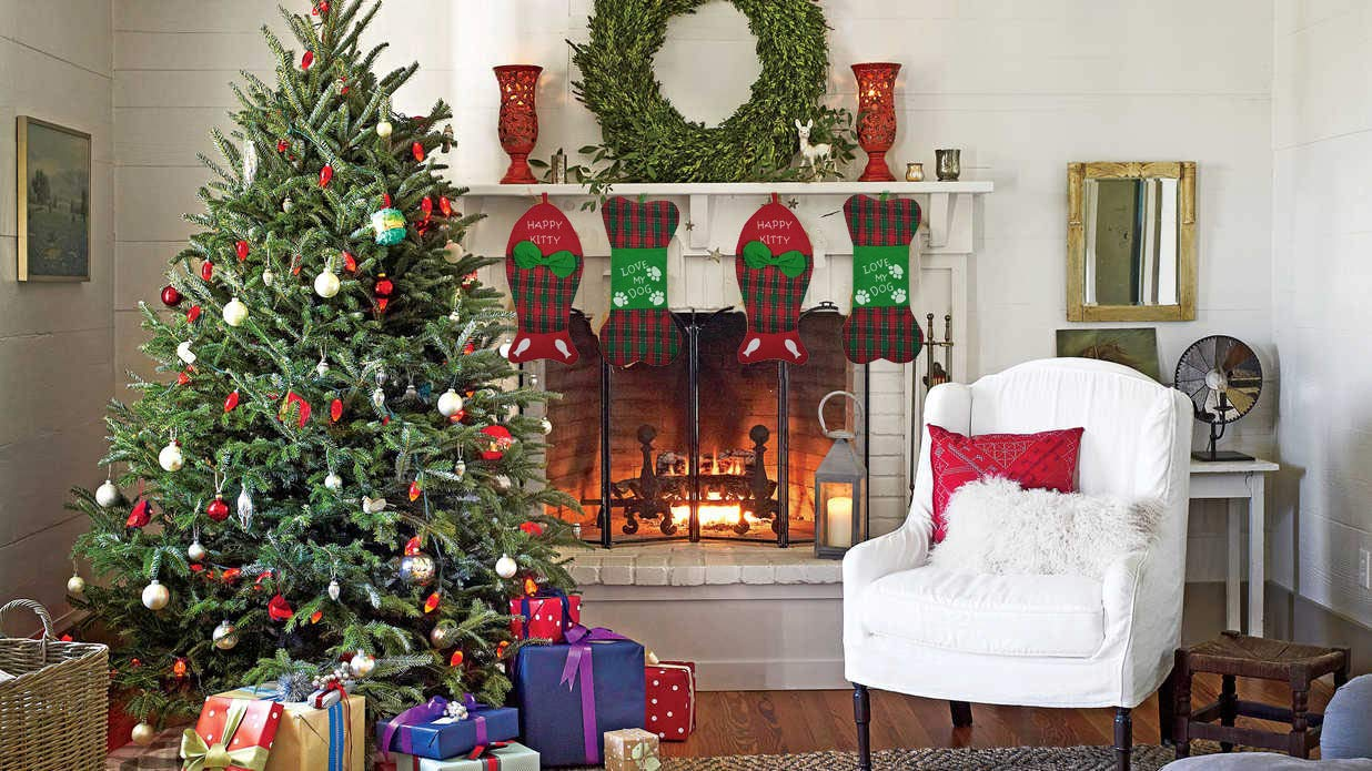 Christmas Stockings Holidays Family Decoration Felt Dog Bone Design with Hanging Loop 8.6x17.3 Inches Bone