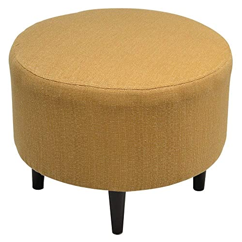 Sole Designs Candice Series Sophia Collection Round Upholstered Ottoman with Espresso Leg Finish, Fawn
