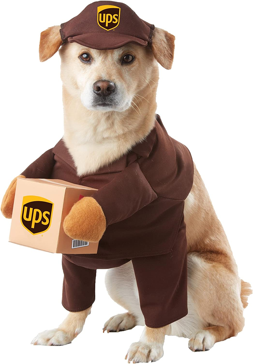 Amazon Com Ups Pal Outfit Funny Theme Puppy Fancy Dress Halloween Pet Dog Costume L Kitchen Dining