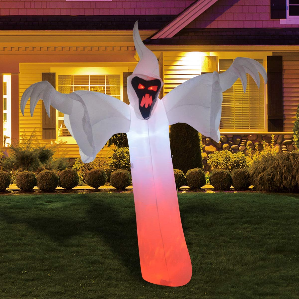 GOOSH 12 Foot High Halloween Inflatable Narrow face Ghost Yard Decoration, Indoor Outdoor Garden Halloween Decoration.
