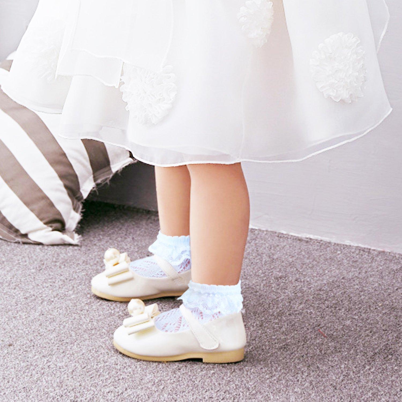 19-22//12-24M, 2 paia bianco con pizzo JHosiery Calzini da bambina con cuciture piatte per piedi sensibili