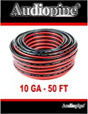 50' AUDIOPIPE 10 GA GAUGE RED BLACK ZIP WIRE SPEAKER CABLE COPPER CLAD CAR AUDIO STEREO #10-50RB