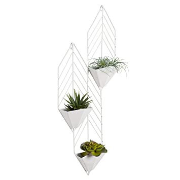 Amazon Com Kate And Laurel Tain Metal Wall Hanging Planter With 3