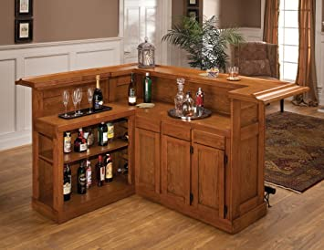 Great Hillsdale Furniture 62576AXOAK Classic 78u0026quot; Large Bar With 12 Wine  Bottle Storage Side Bar Foot