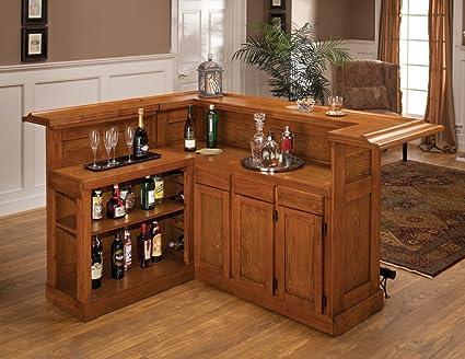 Ordinaire Hillsdale Furniture 62576AXOAK Classic 78u0026quot; Large Bar With 12 Wine  Bottle Storage Side Bar Foot