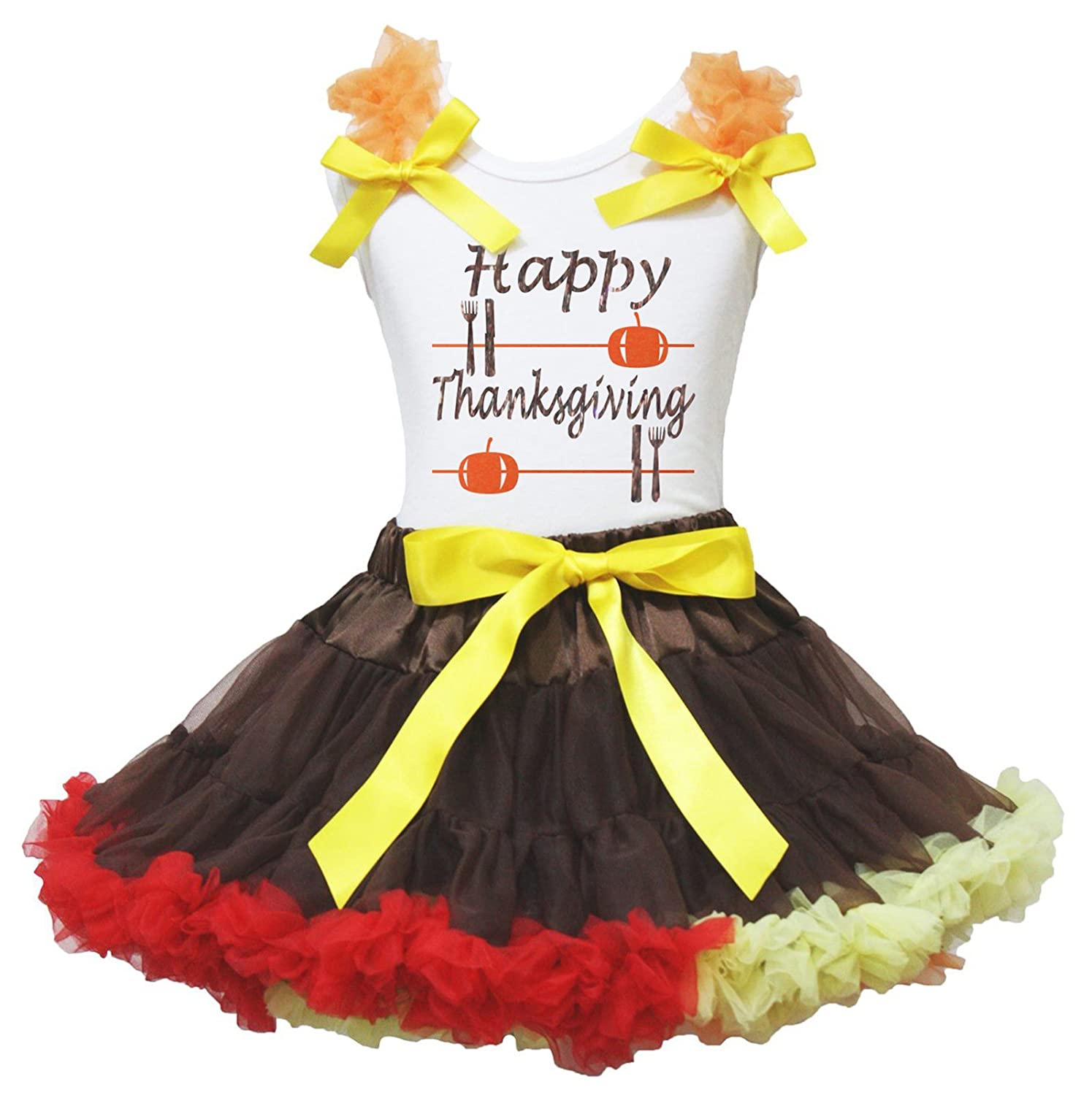 Petitebella Happy Thanksgiving White Shirt Brown Rainbow Ribbon Skirt Set 1-8y
