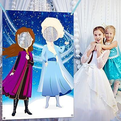 Ticiaga Frozen Photo Door Banner, Large Fabric Elsa Face Photography Banner Background, Pretend Anna Backdrop Props, Winter Wonderland Party Decoration, Princess Theme Party Favor Supplies: Toys & Games