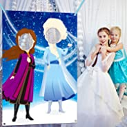 Ticiaga Frozen Photo Door Banner, Large Fabric Elsa Face Photography Banner Background, Pretend Anna Backdrop Props, Winter W