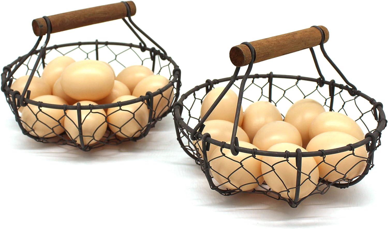 cestas de almacenamiento de estilo r/ústico Cestas para huevos de alambre de gallina con mango de madera 2 unidades Cable CVHOMEDECO Oxidado. ovalado