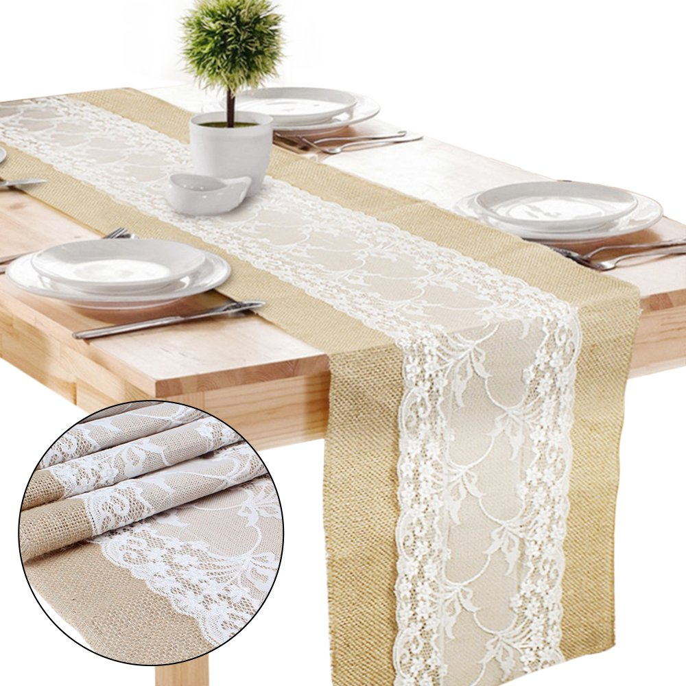 ZhongYeYuanDianZiKeJi 1Pc Lace Burlap Table Runners Vintage Rustic Hessian Jute Table Cloth Wedding Bridal Festival Party Event Decoration 30x275cm