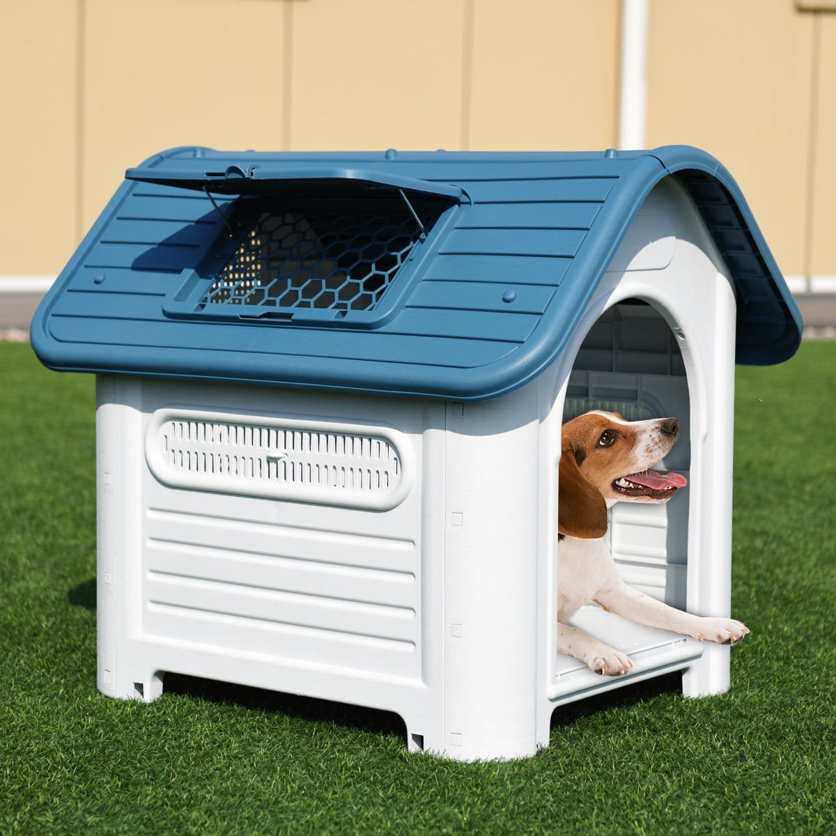 SENYEPETS Outdoor Indoor Plastic Dog Houses Carry Skylight Portable Pet Waterproof Plastic Dog Kennel Puppy Shelter (Blue)