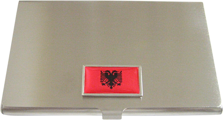 Thin Bordered Albania Flag Business Card Holder