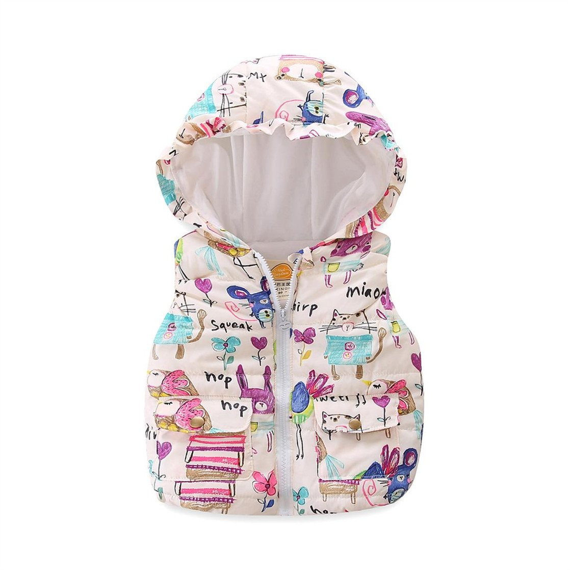 UWESPR Little Girls Cartoon Graffiti Printed Hooded Vests Zipper Outerwear Made in China