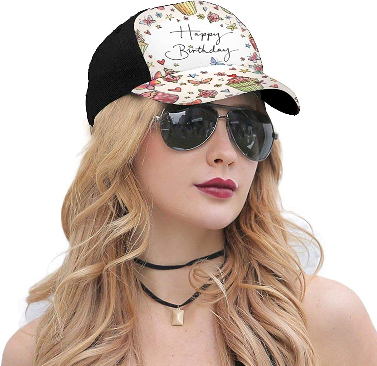 Happy Birthday Butterfly Cake Classic Baseball Cap Men Women Dad Hat Twill Adjustable Size Black