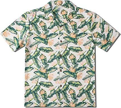 Aiserkly - Blusa de manga corta para hombre, diseño de hojas, color verde Verde verde M: Amazon.es: Ropa y accesorios
