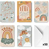 Rileys Baby Shower Thank You Cards Assortment, 50-Count   Hand-Illustrated 5 Designs, Envelopes Included, Bulk Variety Pack (