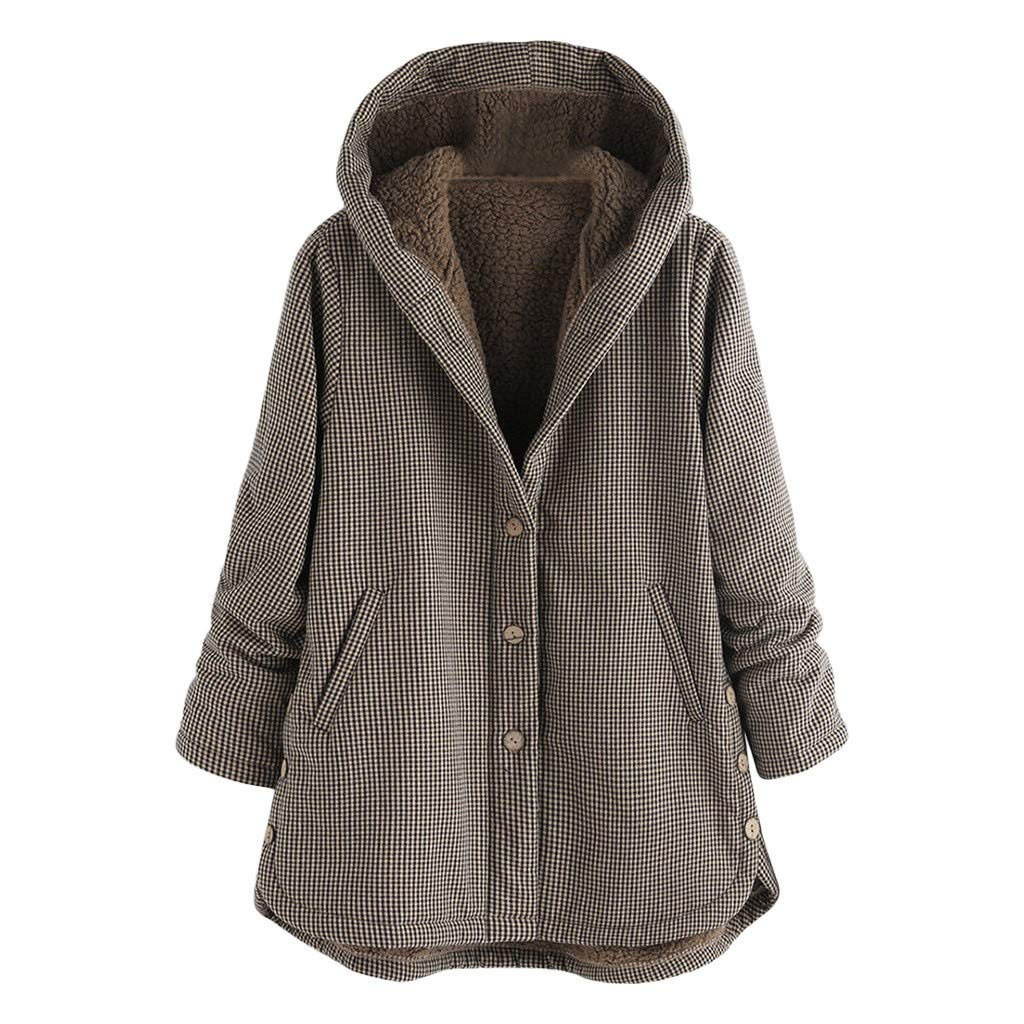 Clearance! Plus Size Women Winter Warm Hooded Coat Vintage Plaid Asymmetrical Button Outwear Coat Jacket S-5XL (Medium, Gray) by Aritone - women clothes