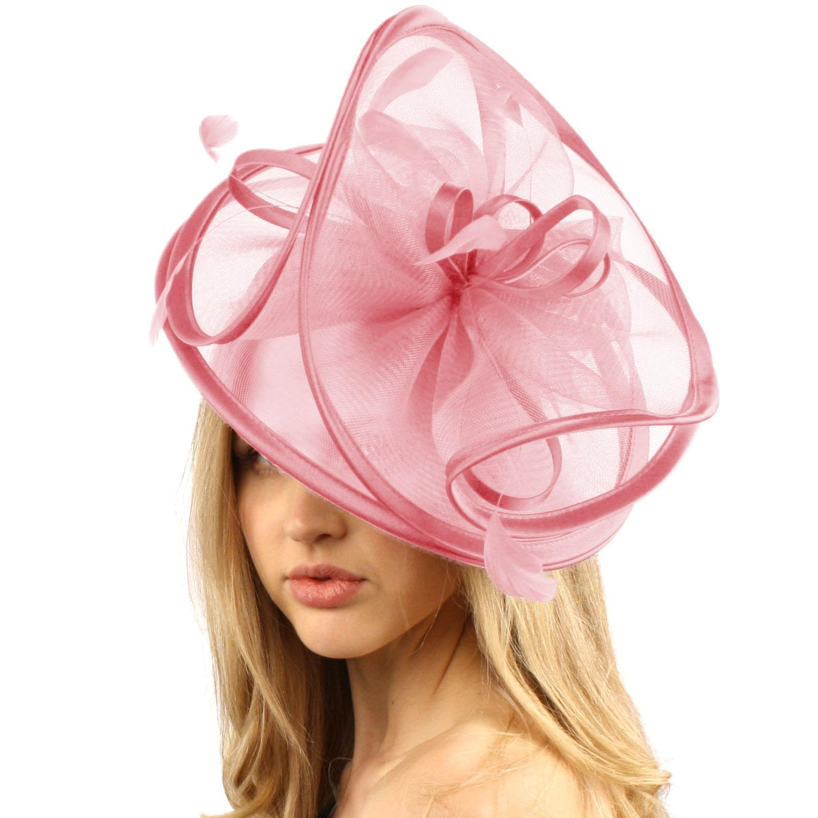 Feathers 3 Tier Layer 2 Tone Headband Fascinator Millinery Cocktail Hat Pink