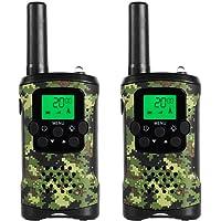 JAJA JJ-220 Mini Walkie Talkies Kids Army Toy Boys Girls FRS Two Way Radios 22 Channel 38 CTCSS Nature Exploration Toy Flashlight Camouflage (2 Pack)