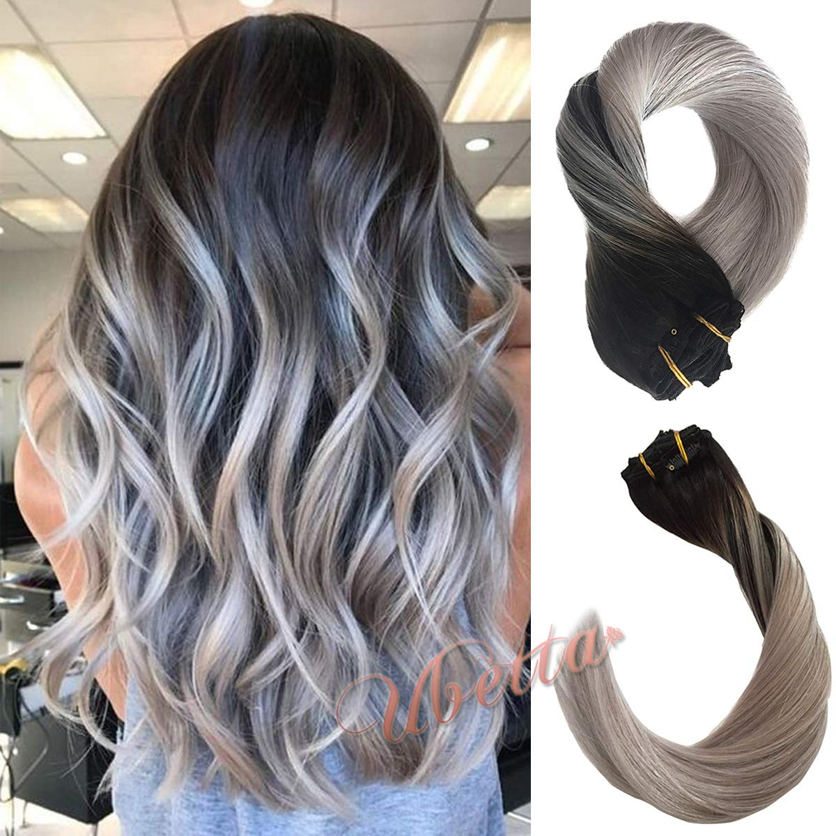 Clip in Real Hair Extensions Thicken Natural Black Fading to Silver Gray Brazilian Hair 120G 7 Pcs Double Weft Silky Straight Human Hair Remy Clip in Extensions Full Head 14'' for Women Girls by Ubetta
