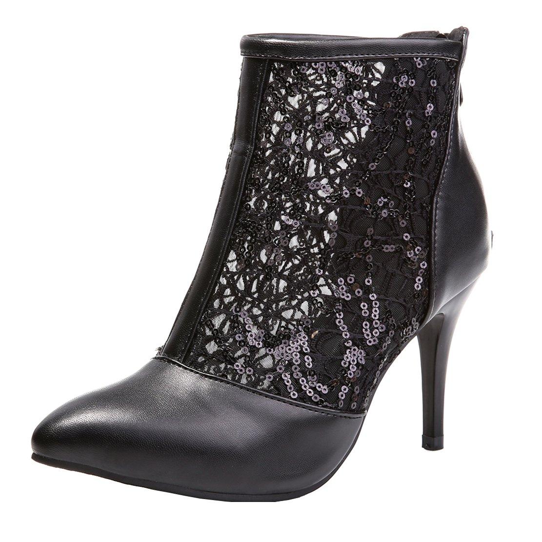 AIYOUMEI Damen Spitz Stiletto High Heels Herbst Stiefeletten mit Spitze Pumps Schuhe  38 EU|Schwarz