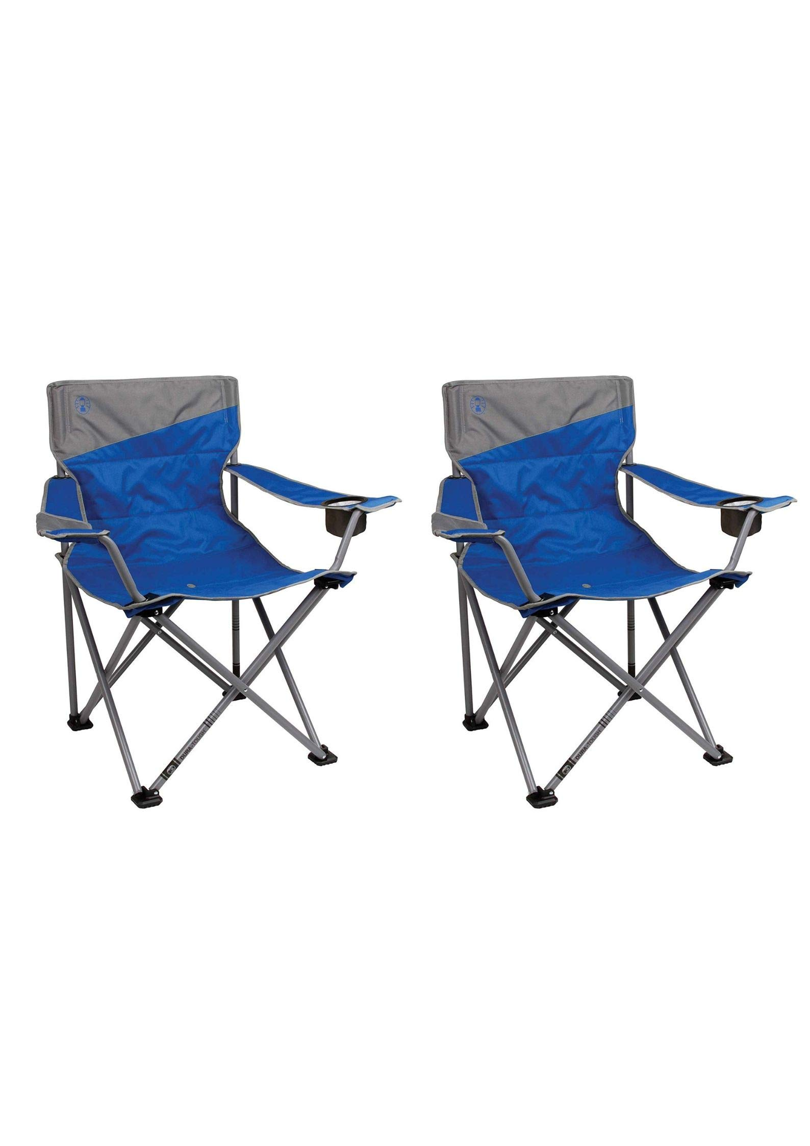 Coleman Quad Big and Tall Adults Camping Chair (Blue/Set of 2)