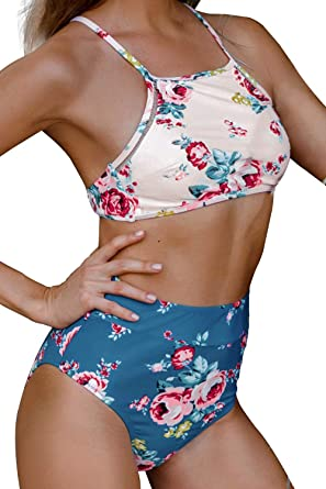 2216264982 CUPSHE Women's Leaves Printing High Waisted Bikini Set Tankini Swimwear  (X-Small, Rose