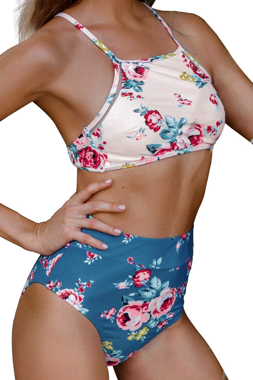 42ab015dc2 CUPSHE Women's Leaves Printing High Waisted Bikini Set Tankini Swimwear  product image