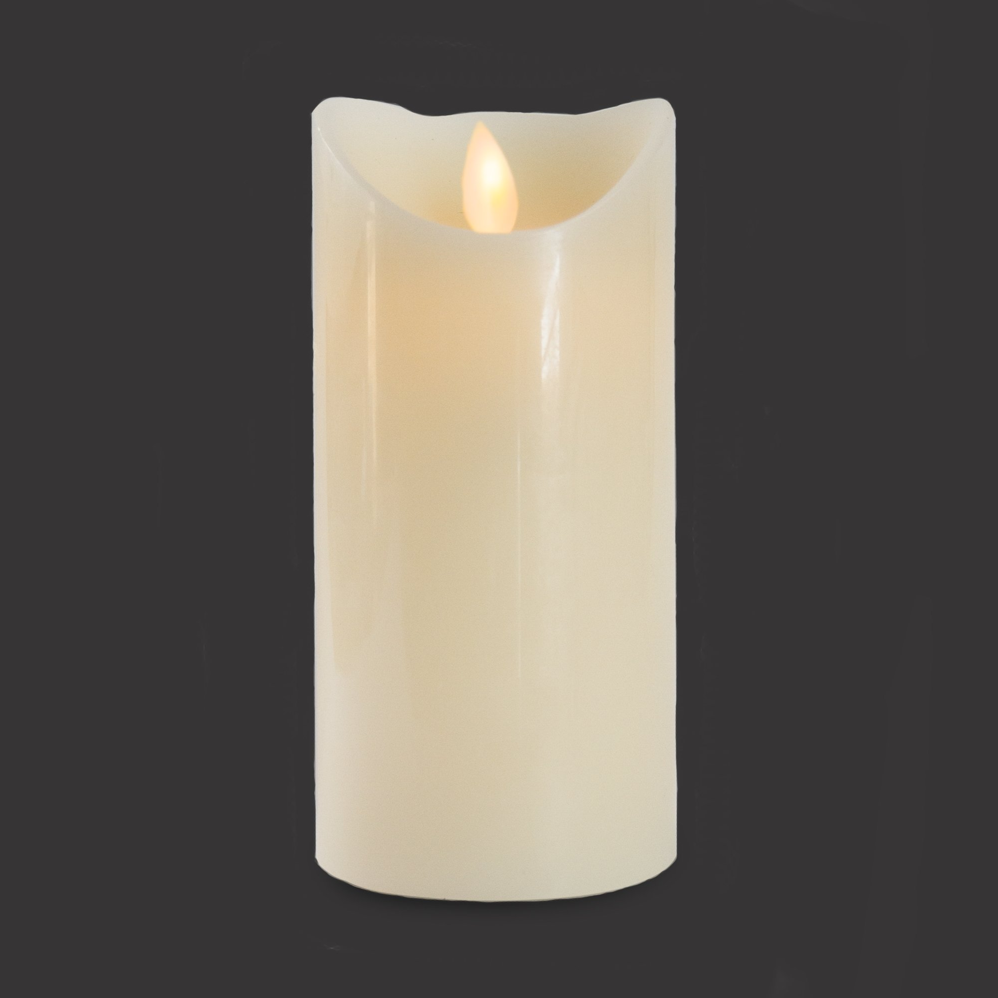 Gideon 7 Inch Flameless LED Candle - Real Wax & Real Flickering Candle Motion - with Remote On/Off - Vanilla Scented, Ivory