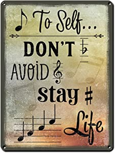 Note to Self, 9 x 12 Inch Metal Sign, Music Themed Decor for Music Room or Studio Wall, Gifts for Musicians, Orchestra Conductors, Producers, Songwriters, Teachers, Composers and Singers, RK3038 9x12
