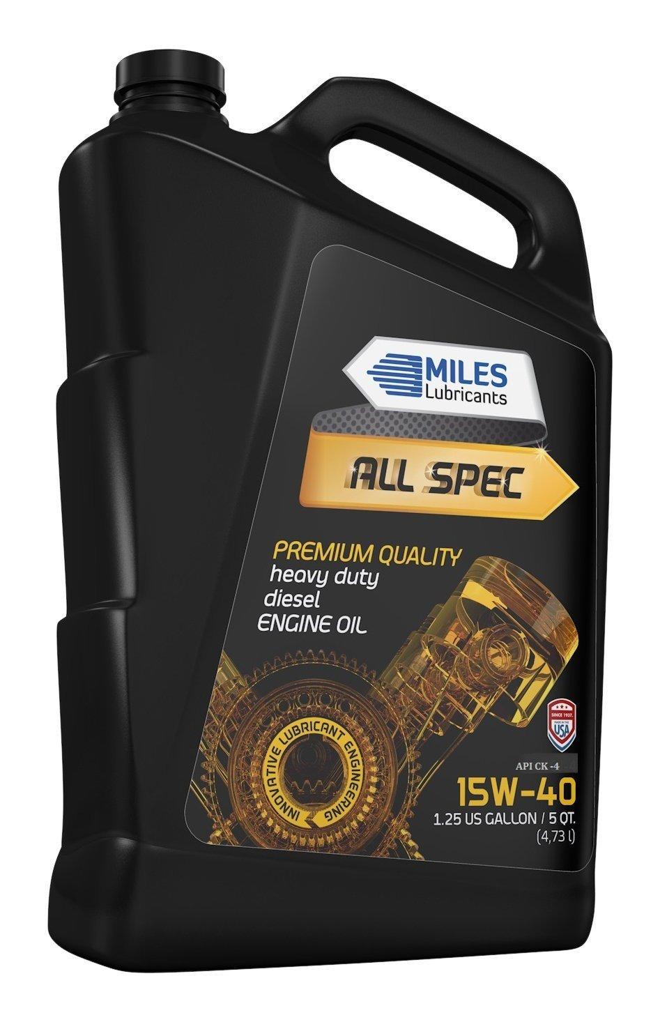 MILES ALL SPEC 15W40, API CK-4, Heavy Duty Diesel Motor Oil 5 QUART BOTTLE (Pack of 4)