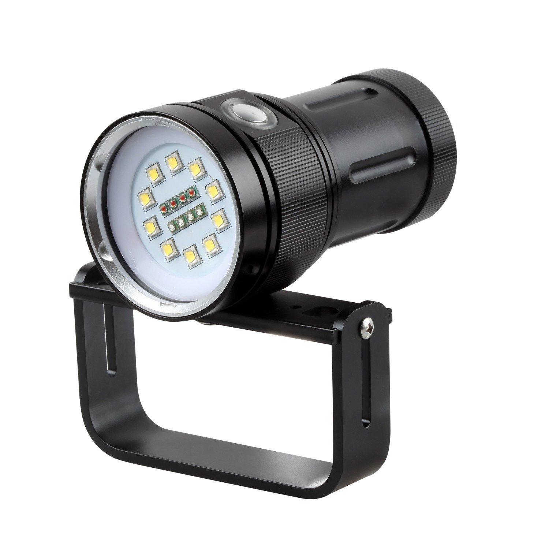 Linterna de buceo, 10000lúmenes impermeable submarino luz con 10leds XM-L2LED + 4rojo + 4Azul LEDs para bajo el agua profesional de buceo fotografía Egymcom