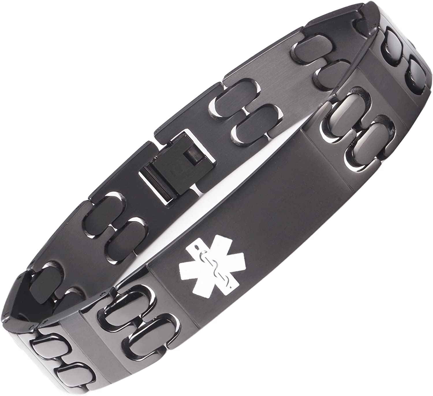 linnalove Black Titanium/Stainless Steel Medical Alert id Bracelet for Men and Women with Free Engraving