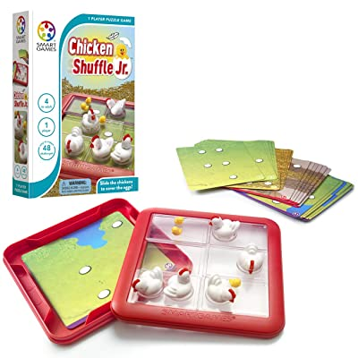 SmartGames Chicken Shuffle Jr. Travel Game for Kids, A Cognitive Skill-Building Brain Game - Brain Teaser for Ages 4 & Up, 48 Challenges: Toys & Games [5Bkhe0504860]