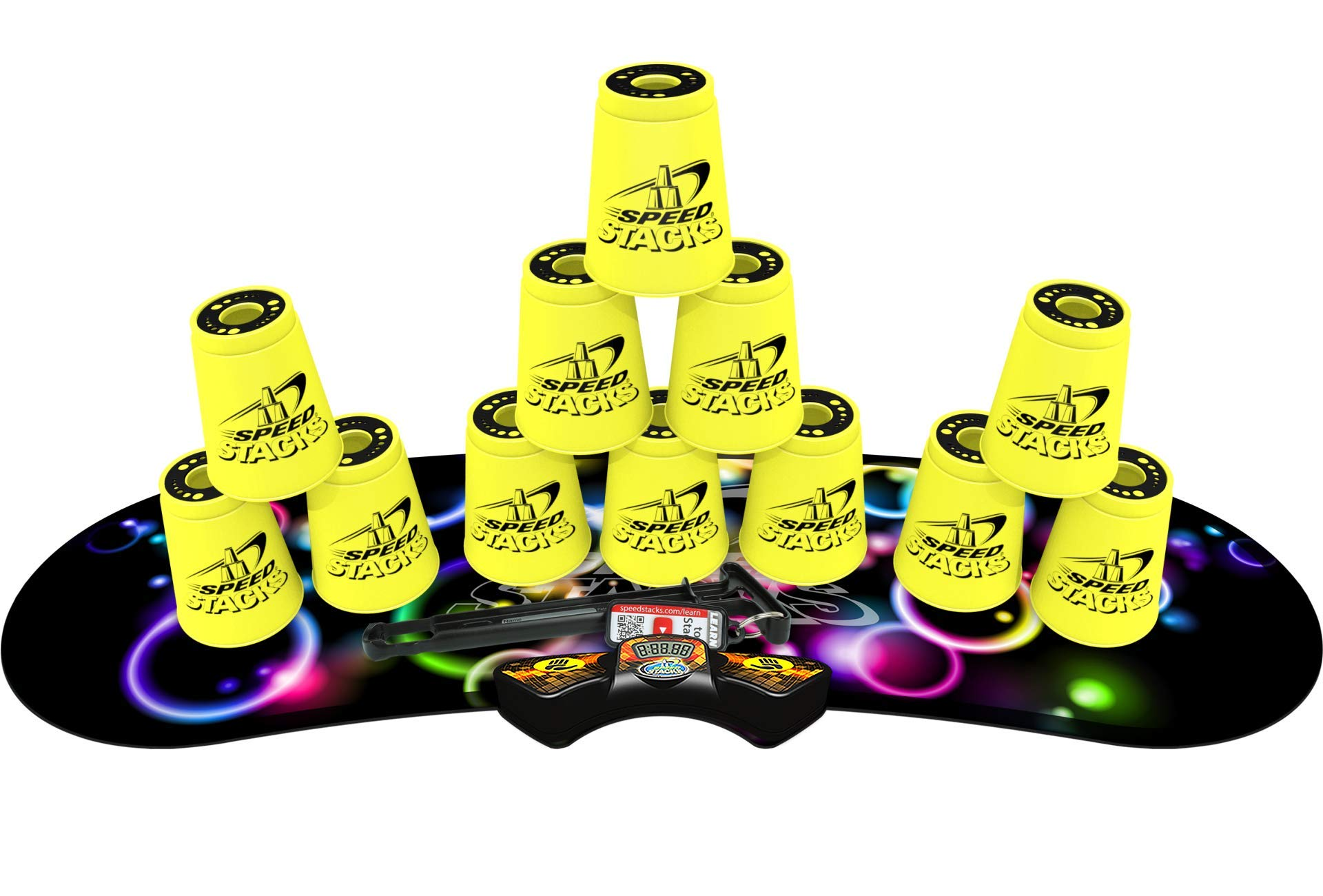 SPEED STACKS Competitor - Neon Yellow w/ Neon Bubbles Mat
