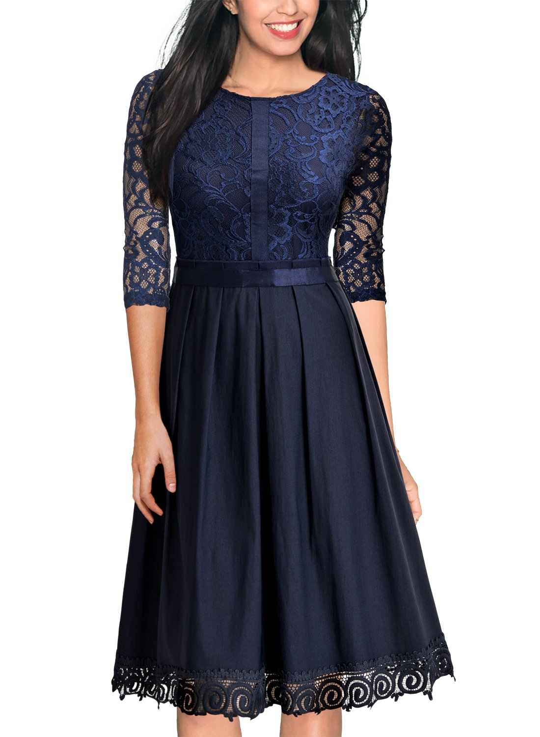 MissMay Women's Vintage Half Sleeve Floral Lace Cocktail Party Pleated Swing Dress Navy Blue X-Large