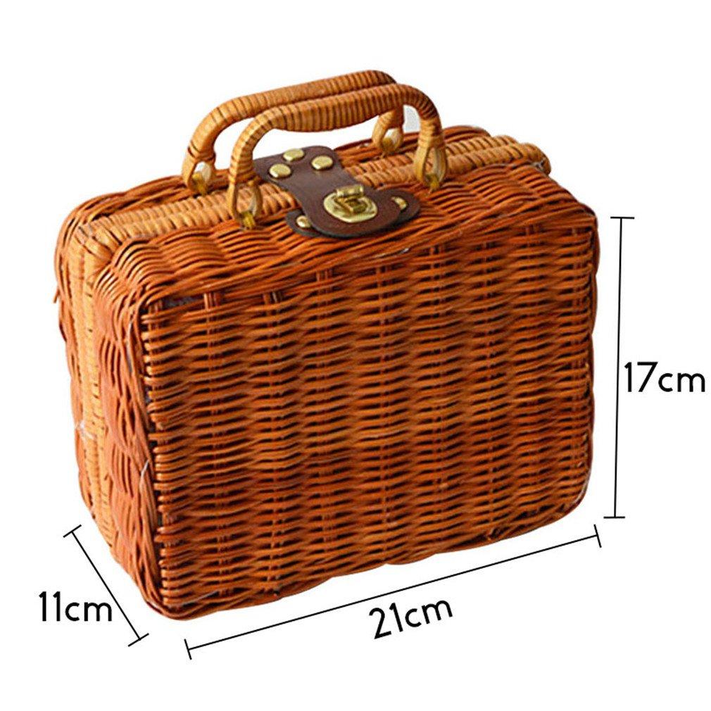 WIEJDHJ Beach Bag Big With Shoulder Strap Beach Bag Straw Weave Vintage Women Handbags Box Picnic Holiday Bags