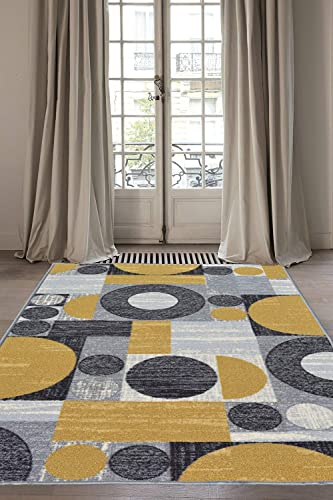 ADGO Collection, Modern Vivid Gold and Gray Contemporary Design Rubber-Backed Non-Slip Non-Skid 3×5 Area Rugs Thin Low Profile Indoor Outdoor Floor Rug