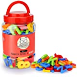 Gamenote Magnetic Letters and Numbers for Toddlers - Plastic Alphabet ABC 123 Magnets Refrigerator Kids Uppercase Lowercase M