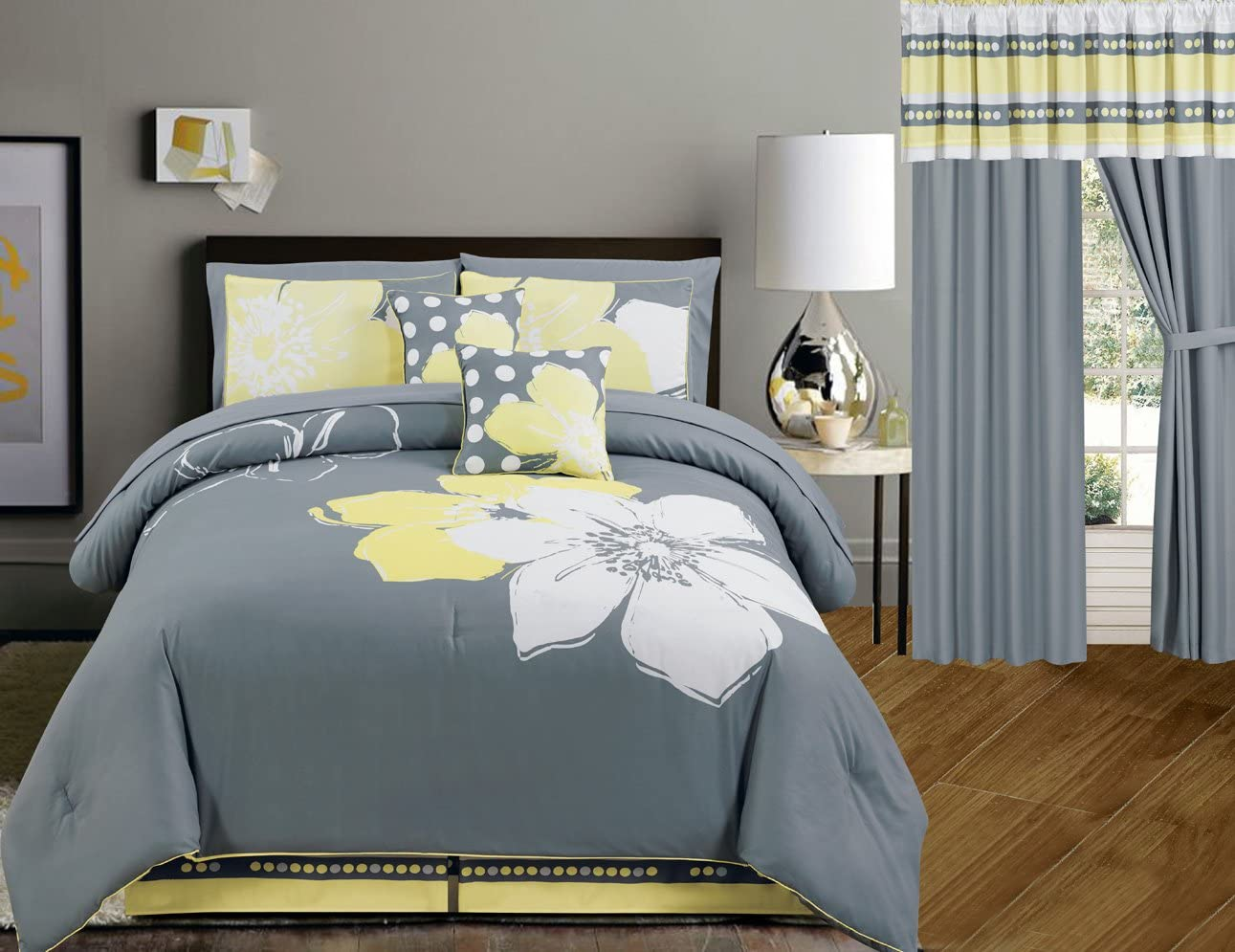 Yellow Grey White Floral Bed-in-a-Bag Queen Size Bedding + Sheets + Accent  Pillows Comforter Set