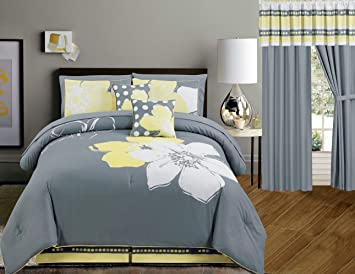 Yellow Grey White floral Bed-in-a-bag QUEEN Size Bedding + Sheets +  Curtains + Accent Pillows Comforter set
