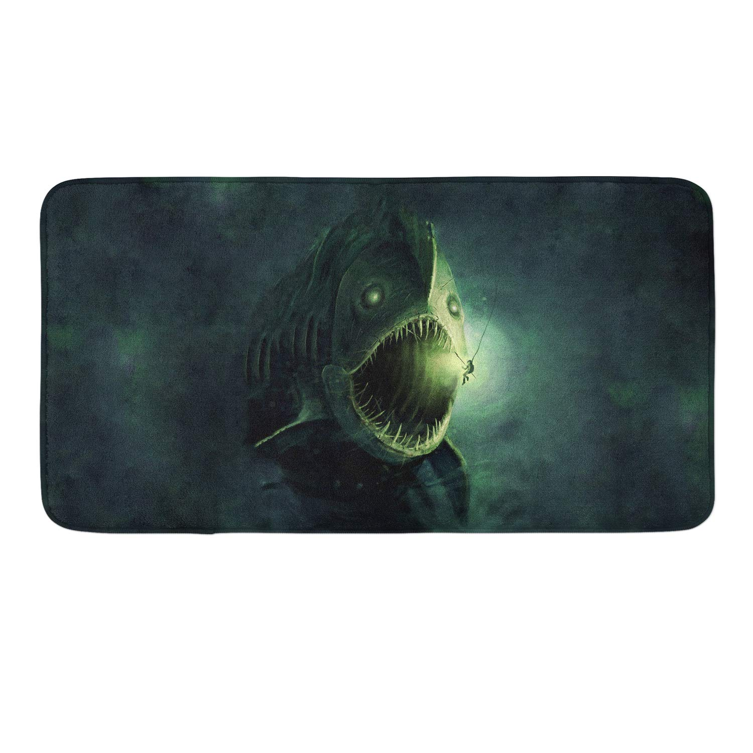 Shark Fish Memory Foam Bath Rugs Kitchen Mat Anti-Slip Bottom Doormat Rug Carpet, Home Decor Shower Mat Bathtub Rug - 18 x 36