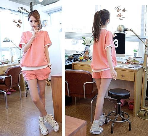 【MIKA&MAYA】上下セット半袖Tシャツパンツレディースルームウェア部屋着女性(Lサイズ)