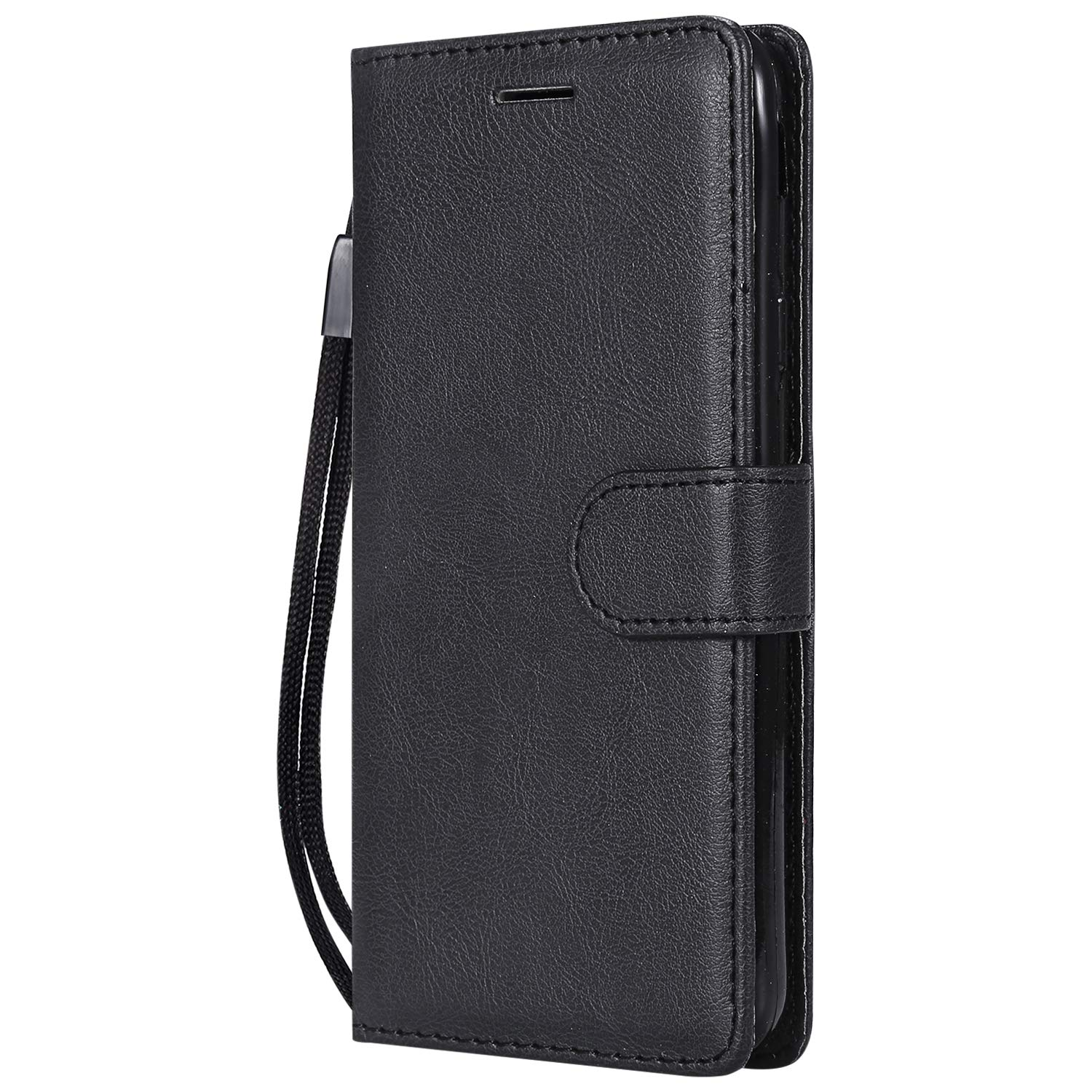 Galaxy S8 Case, AIIYG DS Classic Pure Color [Kickstand Feature] Flip Folio Leather Wallet Case with ID and Credit Card Pockets for Samsung Galaxy S8 Black
